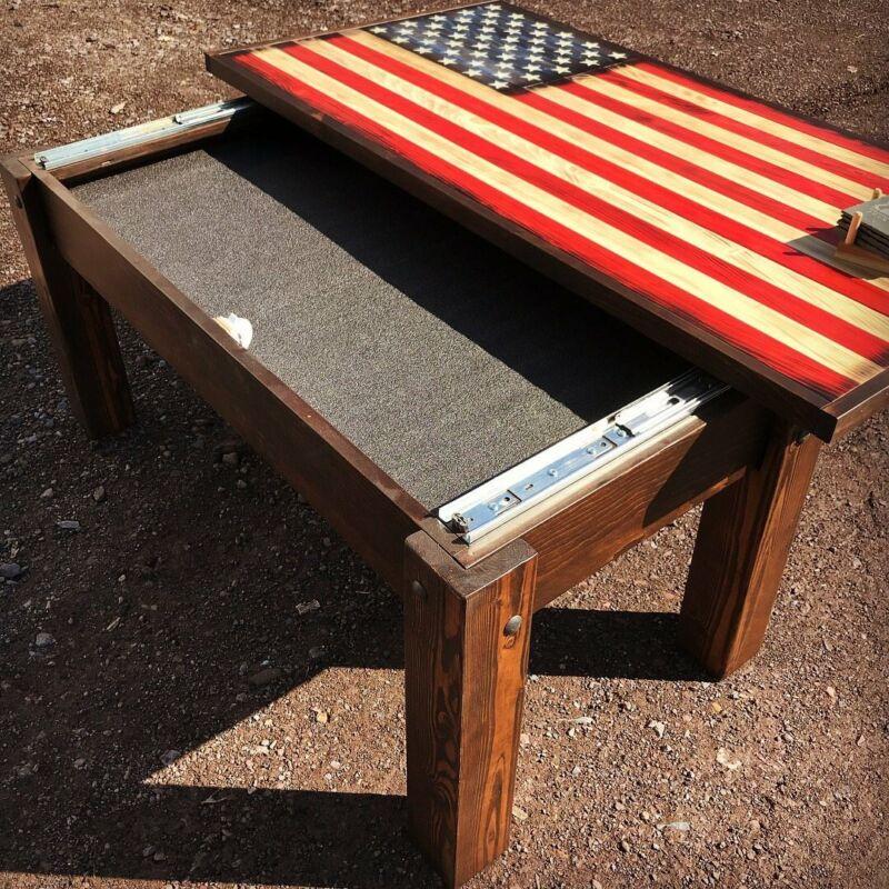 American Flag Rustic Coffee Table With Hidden Gun Concealment