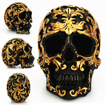 Resin Golden Skull Statue Figurine Human Skeleton Head Halloween Home Bar Decor - Skeleton Heads