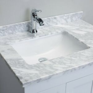 Eviva Loon White Bathroom Vanity Italian Carrera Marble Top 30