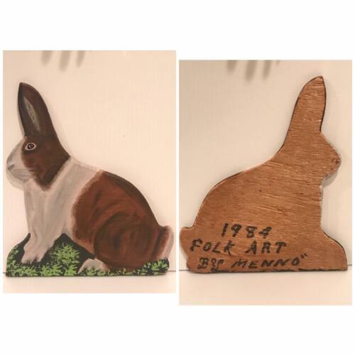 Vintage Signed MENNO / Dated 1984 / RABBIT /  PA Dutch Folk Art / MENNO SHIRK