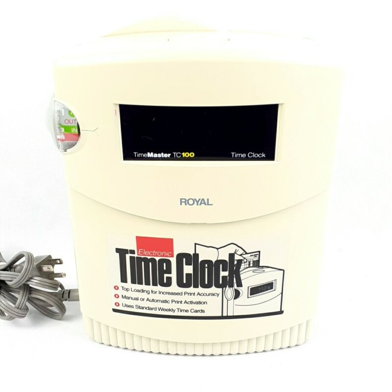 Royal Electronic TimeMaster TC100 Time Clock Office Punch Equipment Tested Works