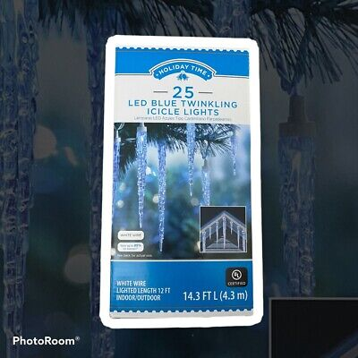 25 Holiday Time Blue LED Twinkling Icicle Lights Christmas