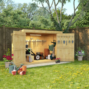 6x4 Tongue and Groove Wooden Shed Pent Bike Log Storage Double Door Roof Felt