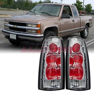 For Chevy C/K 88-98 OE Fit Altezza Style Tail Lights Rear Lamps Chrome/Clear