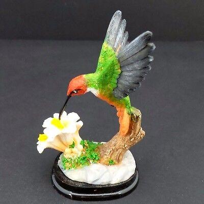Hummingbird White Flowers Statue on Wood Base Small Bird Figurine Collectible