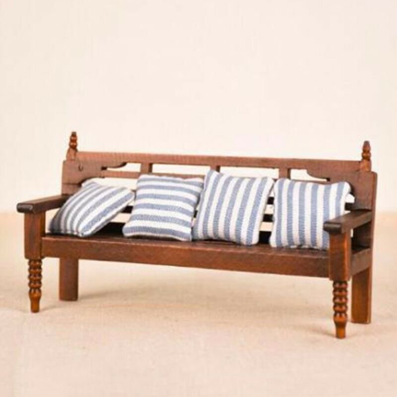 1:12 Miniature Furniture Living Room Bench Couch + Cushions