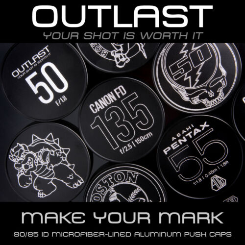 OUTLAST 80mm ID Aluminum Front Push Caps for 80mm OD Step-Up Ring w/ 77mm Thread