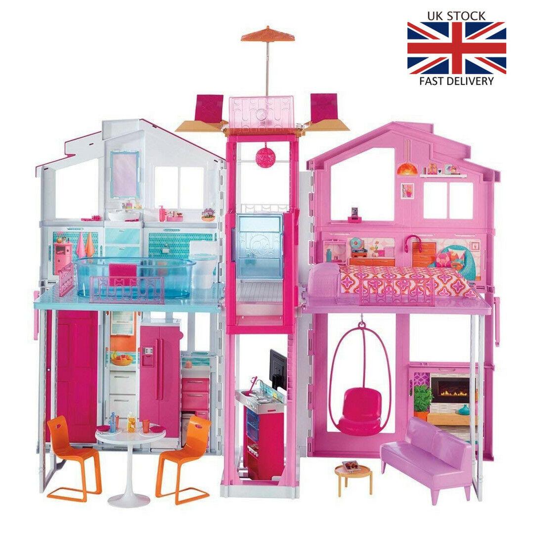 Casa Di Bambole Barbie 3 Storey Finto Gioco Di Ruolo Fashion Dreamhouse Toy Playset Nuovo Ebay