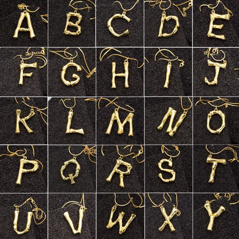 1PCSilver//Gold Stainless Steel Large Alphabet 26 Letter Pendant Necklace Jewelry