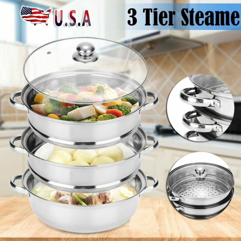 3 Tier Food Steamer Meat Vegetable Cooker Stainless Steel St