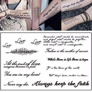 6fceef468 UK_ Temporary Tattoos Lovely English Word Body Art Women Men Fake Tattoo  Sticker