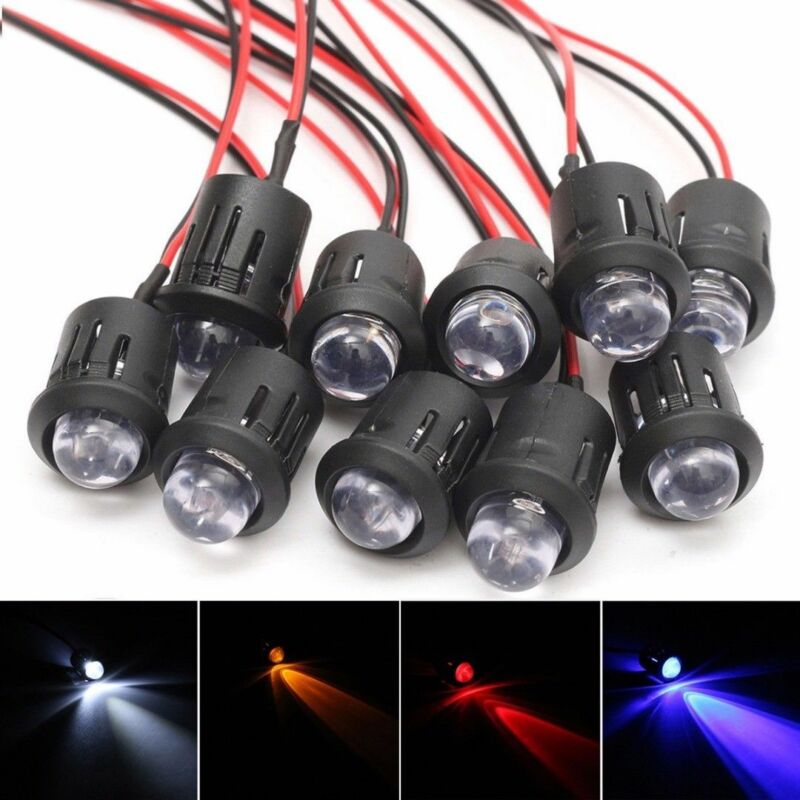 3V 5V 12V 5MM LED Diode Light Clear 20cm Cable Pre-Wired With Plastic Holder