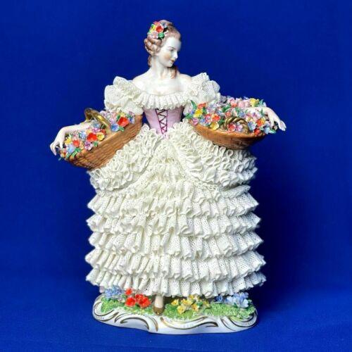 Antique original porcelain sitzendorf lady lace figurine marked 1950s RARE