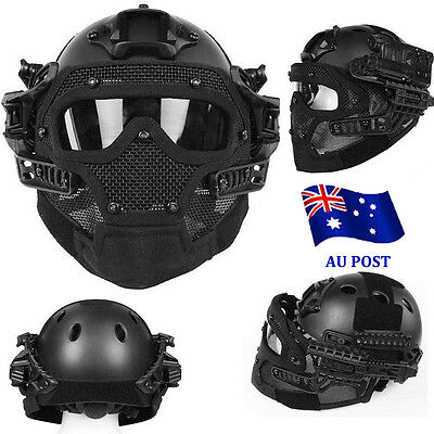 Airsoft Paintball Tactical Fast Helmet Mask Goggles G4 System Protective Gear BO