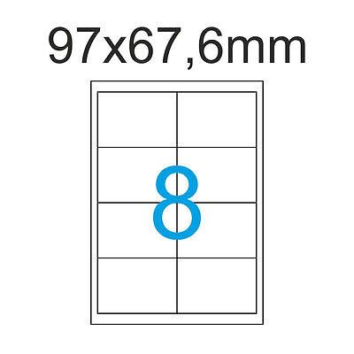 3200 Etiketten 97x67,6 mm 400 Blatt A4 Luma Aufkleber Format 97 x 67 mm 2x4