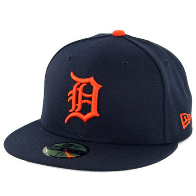 New Era 59Fifty Detroit Tigers ROAD Fitted Hat (Dark Navy) MLB Cap