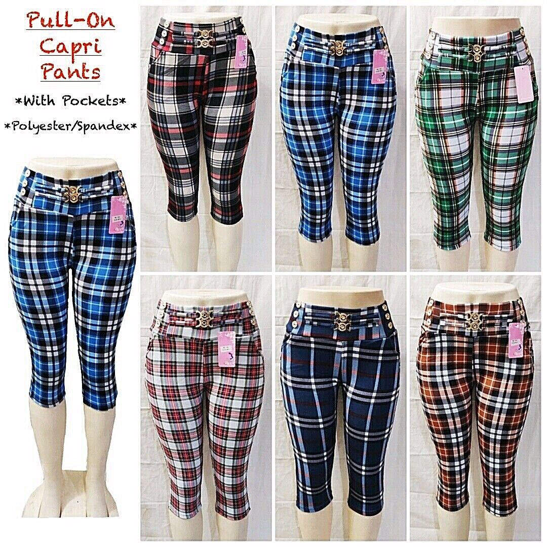 women s casual pull on check pants