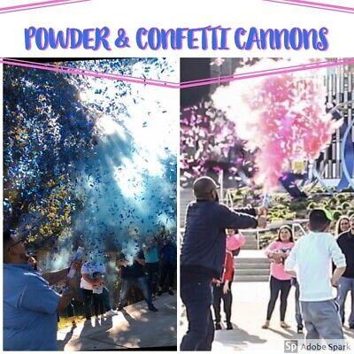 2 Gender Reveal Smoke MIX Powder + Confetti Cannons   [Choose Color] Pink  Blue Powder Blue Color