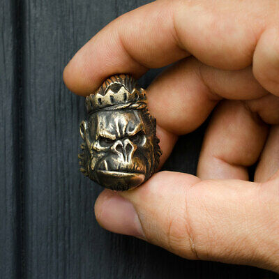 Gorilla face paracord beads - Wild monkey Paracord beads of bronze. Big, -