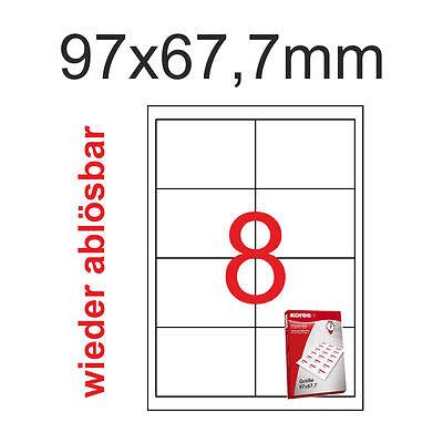 200 Etiketten 97x67,7mm Ablösbar non permanent Kores 97x67 25 Blatt A4 Weiss