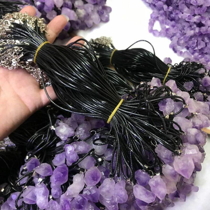 Amethyst Necklace Stone Gemstone Quartz Pendant Healing Reiki Black Leather 20ps