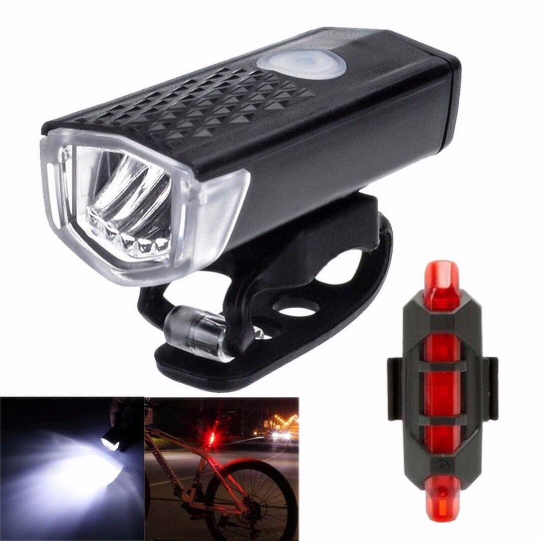 New USB Rechargeable LED Bright Bike Front Headlight and Rear Tail Light Set
