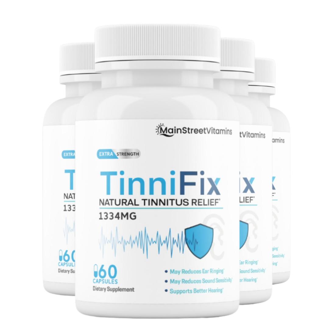 4 Bottles TinniFix Natural Tinnitus Relief Formula Ear Ringing 60 Capsules