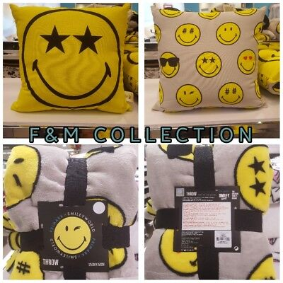 PRIMARK EMOJI SMILEY FACE FLEECE THROW BLANKET & CUSHION NEW - Smiley Face Cushion