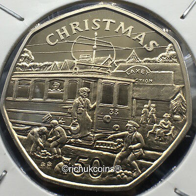 1989 IOM Xmas 50p Diamond Finish Coin with BB die marks