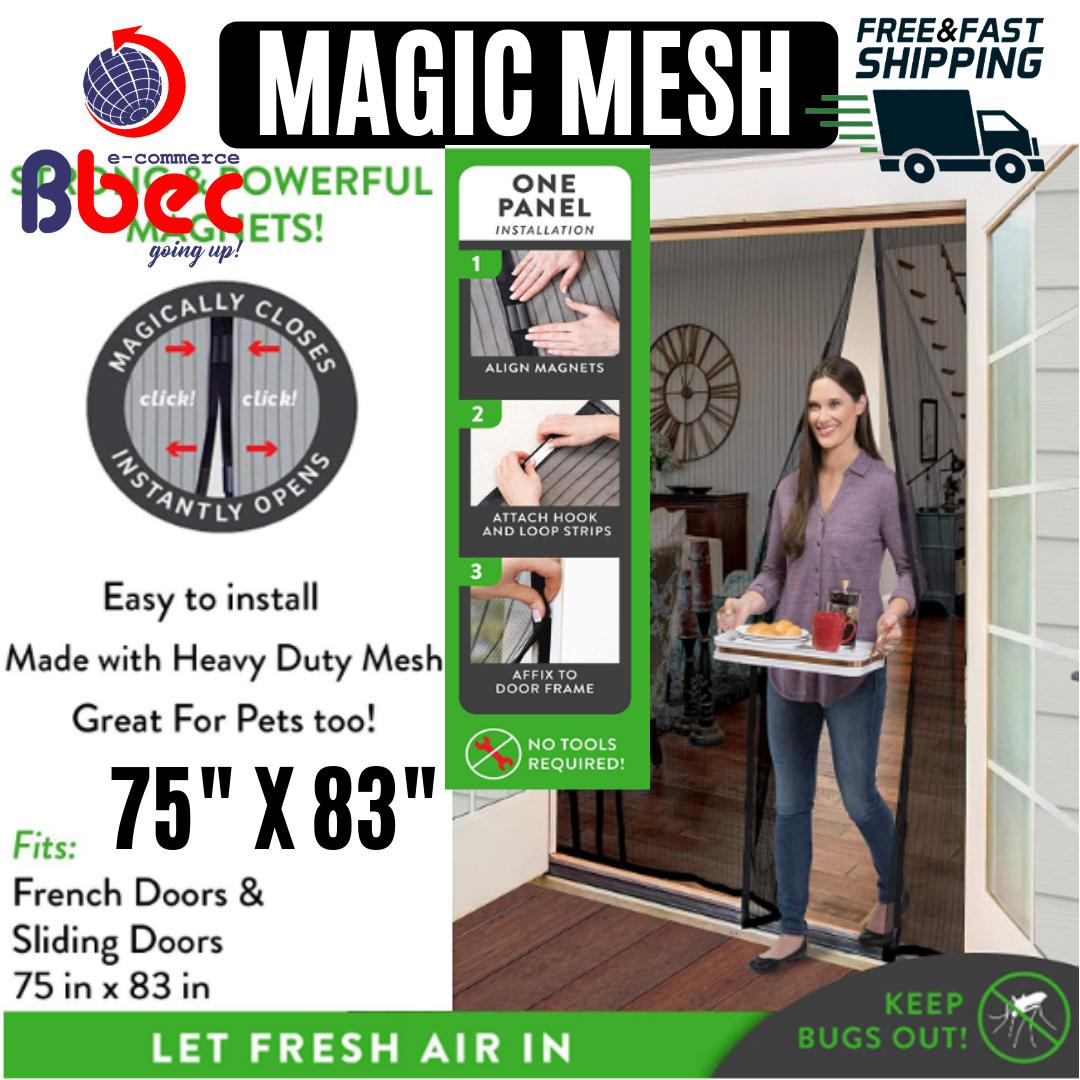 Magnetic Mesh Screen Double Door Hands Free Fits French & Sl