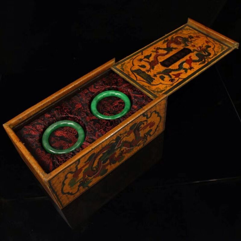 Chinese Qing Dynasty Court collection Green jade bracelet + Box 绿手镯