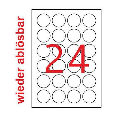 240 runde 40 mm Etiketten Wieder Ablösbar Premium Aufkleber Rund 10 Blatt A4