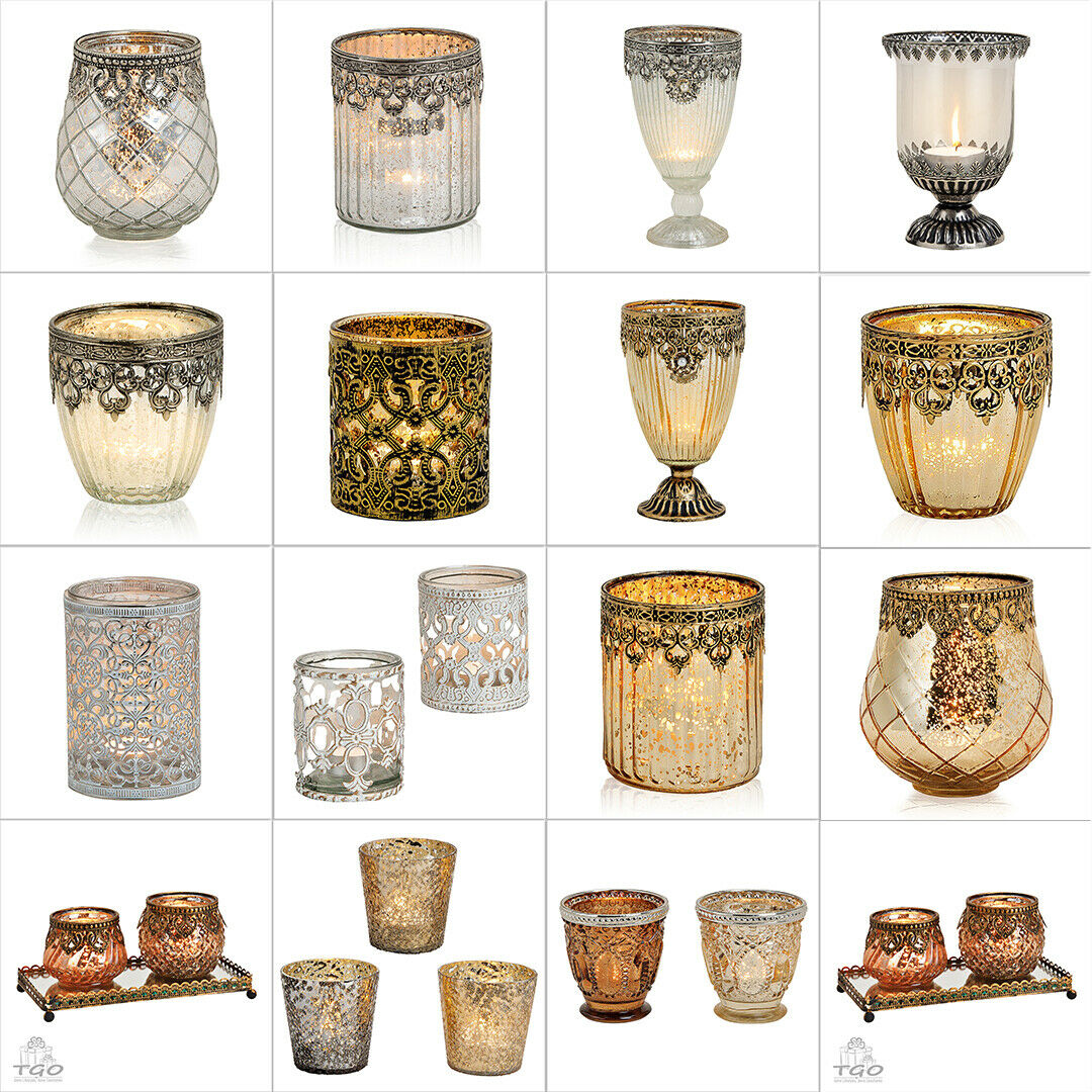 Deko Windlicht Antik- Marokko aus Glas/ Metall Gold silber  Kelch Teelichthalter