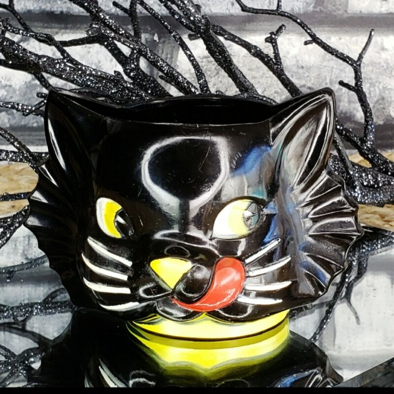 "Vintage ""LUCKY"" Black Cat Plastic Cup 1950"