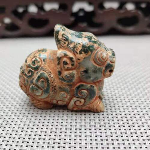 China collectible, hand-carved Ancient HeTianJadesmall animal statue pendantH155