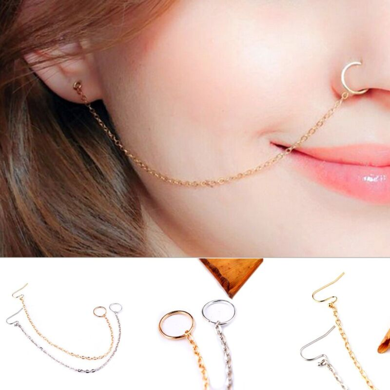 fashion women crystal nose ring earring chain