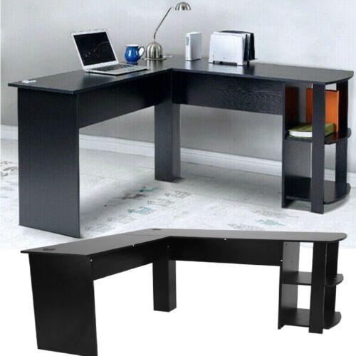 Schreibtisch Eck Computertisch PC Tisch mit Regal Arbeitstisch Büromöbel Schwarz