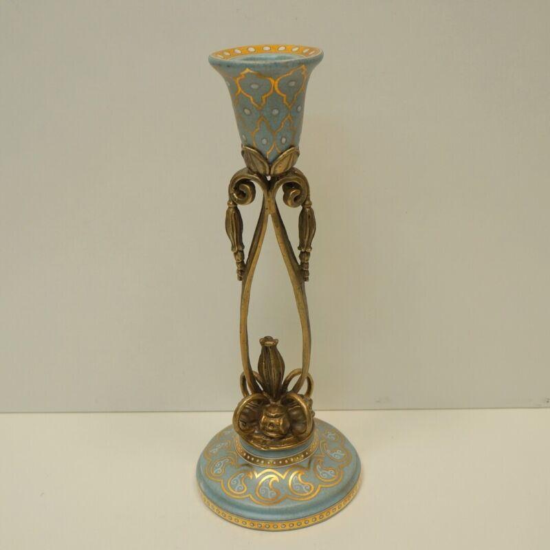 Art Deco Style Candlestick Art Nouveau Style Porcelain Bronze
