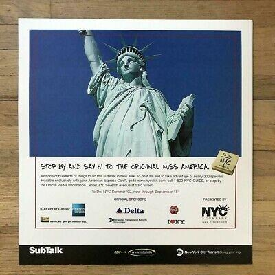 Vintage NY Subway Subway Car American Express Statue of Liberty Ad