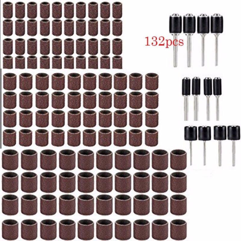 132pezzi punte da trapano per unghie Fasce per anelli di levigatura con mandrino