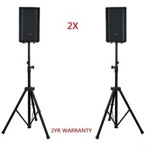 2X Speaker Stands Heavy Duty Adjustable Studio Monitor Pair Tripod Band DJ