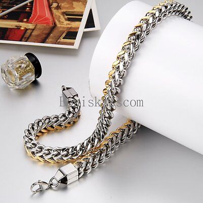 Two Tone 10mm Wide Stainless Steel Men's Necklace Wheat Link Chain 24 -