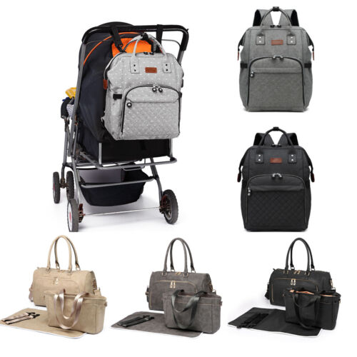 Backpack Multi-Function Bag Polka Dot Grey Mummy Changing Ba