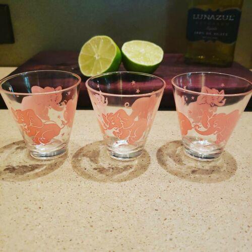 Vintage Hazel Atlas Pink Elephant Barware Set Of 3 Shot Glasses - $27.30