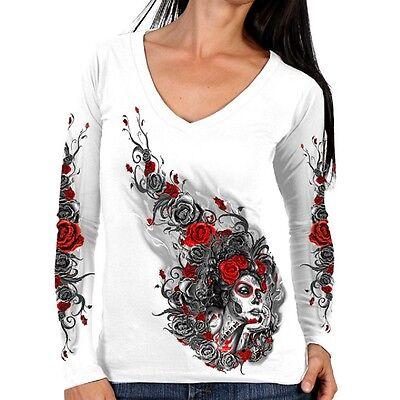 Ladies Long Sleeve Sugar Woman Top Womens Biker Motorcycle Roses White - White Roses Long Shirt