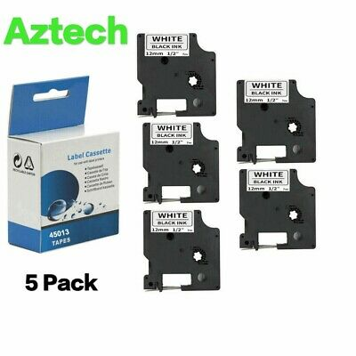 5 Pack Label Maker Tape White Compatible For Dymo D1 45013 Labelmanager 100 150