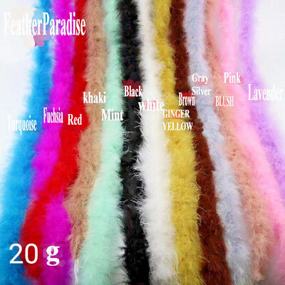 2 Yards 20g Marabou Fluffy Boa 72 inches Turkey Feather Boa Wedding Party Scarf
