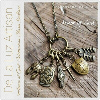 """NEW""""Armor of God"""" Charm Necklace - Handmade - Pick the chain length - Religious"""