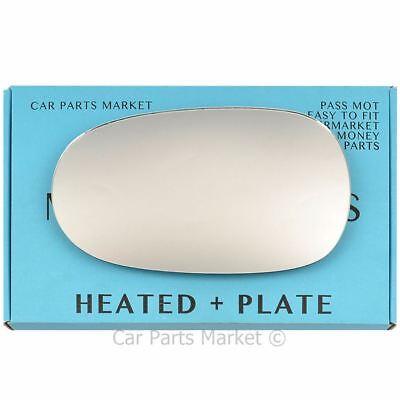 Left Passenger side Flat Wing door mirror glass for Jaguar XK 06-09 heat + plate