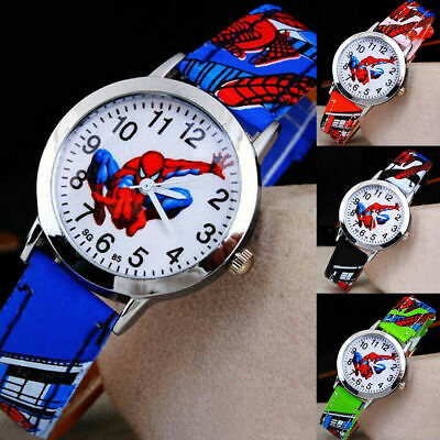 NEW Children Cartoon Spiderman Watch Leather Sport Quartz WristWatch Kids Gifts